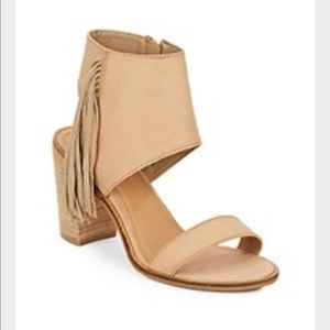 EUC Catherine Malandrino tan fringe wedge